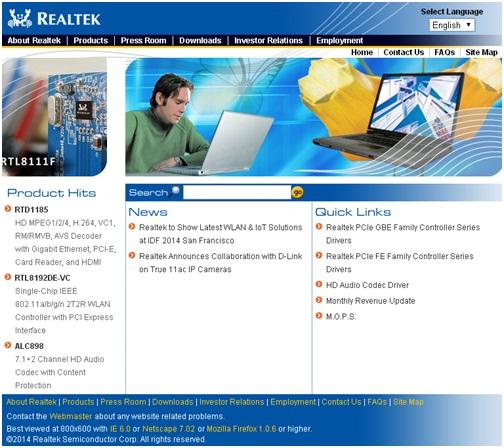 Официальный сайт Realtek